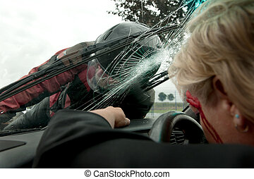 Car accident - Frontal hit between a car and motorcycle as ...