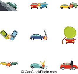 Car accident icons set, cartoon style