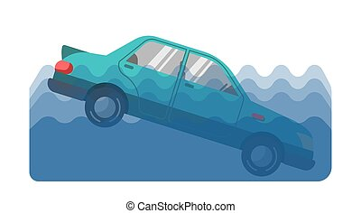 Car accident in water - Vector illustration of a car fallen ...