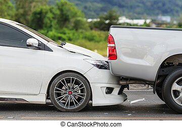 Car accident involving two cars on the street - Car accident...