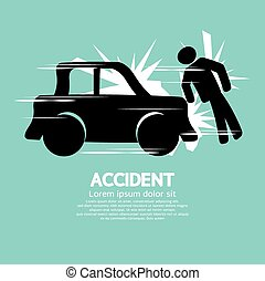 Car Accident Knocked Down A Man.