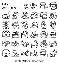 Car accident line icon set. Road traffic signs collection, sketches, logo illustrations, web symbols, outline style pictograms package isolated on white background. Vector graphics.