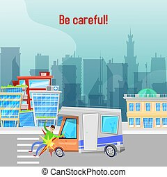 Car accident on road in city vector illustration. Be careful...