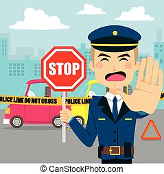Car Accident Policeman - Policeman holding traffic sign and...