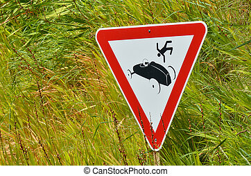 Car accident road sign