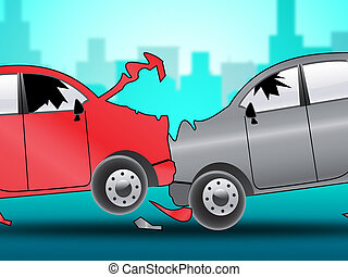 Car Accident Shows Auto Crash 3d Illustration