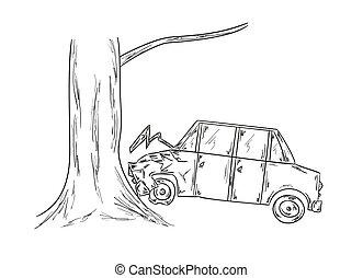 car accident sketch