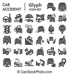 Car accident solid icon set. Road traffic signs collection, sketches, logo illustrations, web symbols, glyph style pictograms package isolated on white background. Vector graphics.