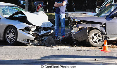 Car accident - Collision between two cars on the asphalt...