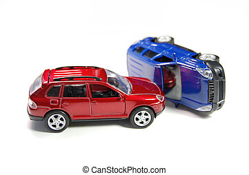 Car accident - Two toy cars in a crash position