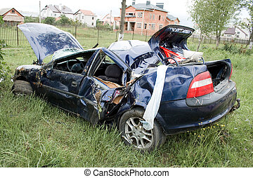 car accident on roadside