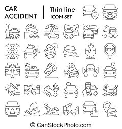 Car accident thin line icon set. Road traffic signs collection, sketches, logo illustrations, web symbols, outline style pictograms package isolated on white background. Vector graphics.