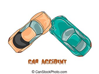 car accident. two cars isolated on white