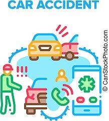 Car Accident Vector Concept Color Illustration