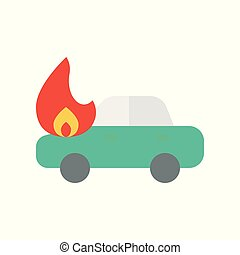 Car accident vector, insurance related flat style icon