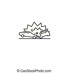 car accident vector line icon, sign, illustration on background, editable strokes