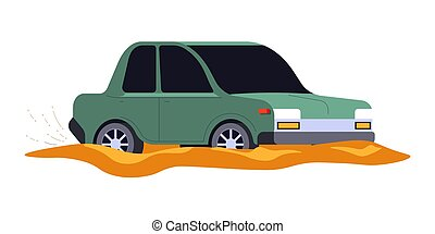 Car accident, vehicle stuck in mud or dirty puddle isolated ...