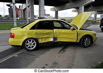 yellow car crashed, doors bent