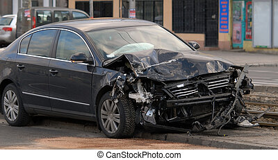 car after accident - CRUSHED CAR STANDING ON THE STREET