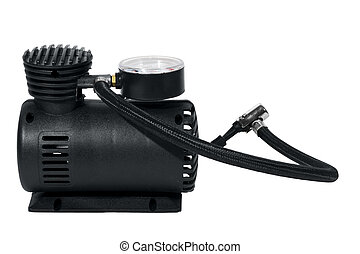 Car air compressor isolated over white with clipping path