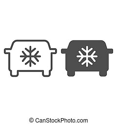 Car air conditioning line and glyph icon. Car conditioner vector illustration isolated on white. Automobile airflow outline style design, designed for web and app. Eps 10.