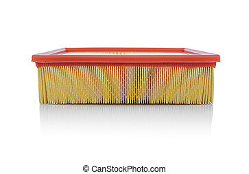Car air filter isolated on white background.