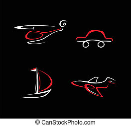 Car, Airplane, Boat and Helicopter - Transport icons on...