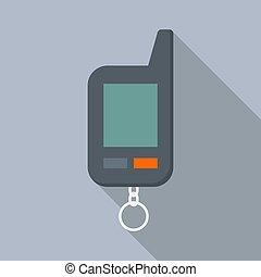 Car alarm remote control icon, flat style