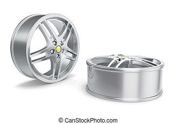 Car Alloy Rim isolated on white background. 3d illustration