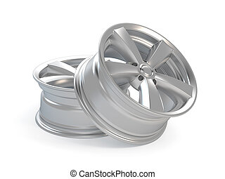 3d render car alloy wheel, isolated over white background
