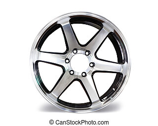 Car aluminum allow wheels on white background