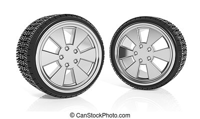 Car aluminum alloy rims with tires, isolated on white background