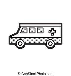 car, ambulância, furgão, ícone