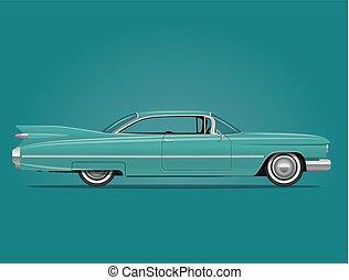 car, americano, ilustração, clássicas