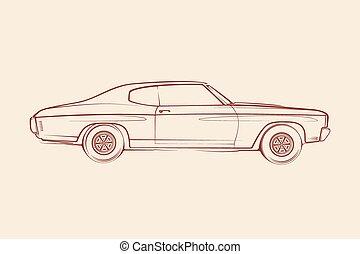 car, americano, músculo, silueta, 70s