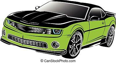 car, americano, músculo, verde