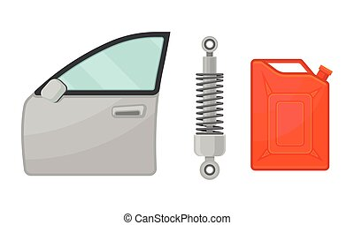 Car and Auto Spare Parts with Front Door and Fuel Can Vector Set