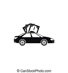 Car and banknotes icon, simple style