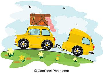 Car and caravan - Funny yellow retro car with caravan....