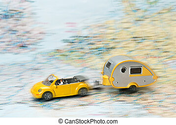 Car and caravan on a map - Car with caravan moves on Map of...