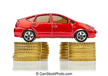 car and coins. rising car costs