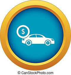 Car and dollar sign icon blue vector isolated