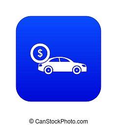 Car and dollar sign icon digital blue