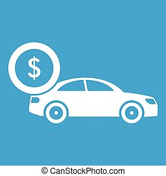 Car and dollar sign icon white