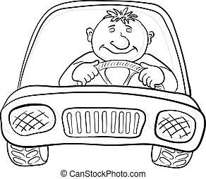 Car and driver, contours - Cartoon, car with a man driver, ...