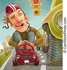 Car and Driver - Illustration of a man riding on a small car...
