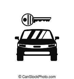Car and key icon, simple style
