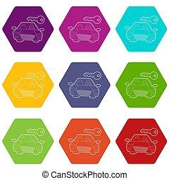 Car and key icons set 9