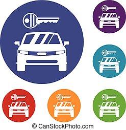 Car and key icons set