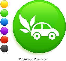 car and leaf icon on round internet button